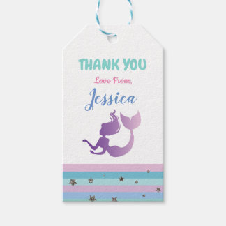 Mermaid Birthday Party Invite Thank You Tags