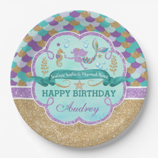 Mermaid Birthday Party Personalized Paper Plate 9 Inch Paper Plate