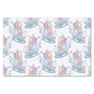 Mermaid blue lavender starfish ocean shells tissue paper