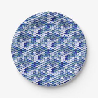 Mermaid Blue Skin Pattern 7 Inch Paper Plate