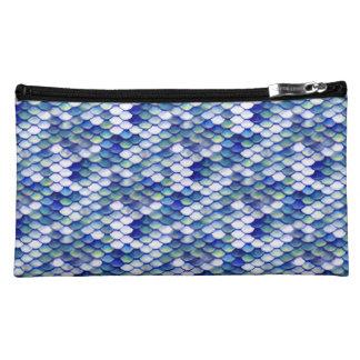 Mermaid Blue Skin Pattern Cosmetics Bags
