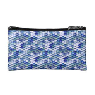 Mermaid Blue Skin Pattern Makeup Bags