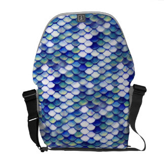 Mermaid Blue Skin Pattern Messenger Bags