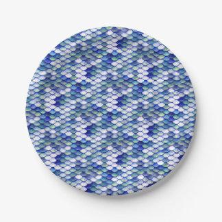 Mermaid Blue Skin Pattern Paper Plate