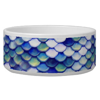 Mermaid Blue Skin Pattern Pet Water Bowl