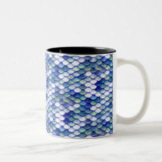 Mermaid Blue Skin Pattern Two-Tone Coffee Mug