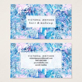 Mermaid blue turquoise watercolor boho dreamcatche business card