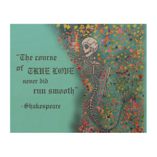 Mermaid Bones & Quote - Wood Pl Wood Print