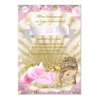 Mermaid Bring a Book Baby Shower Insert 9 Cm X 13 Cm Invitation Card