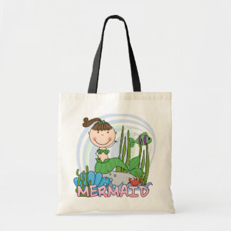 Mermaid - Brunette Girl Pony Tail Tshirts and Gift Tote Bag