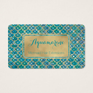 Mermaid Business Cards Teal and Gold Sequin