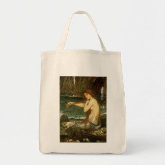 Mermaid by JW Waterhouse, Victorian Mythology Art Canvas Bag