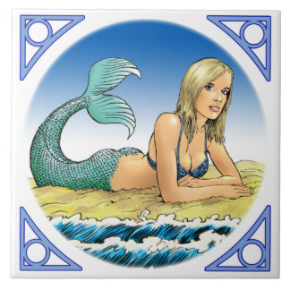 Mermaid by the sea large square tile