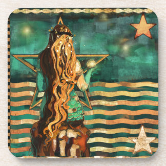 Mermaid by the Sea with Moon and Stars Coaster