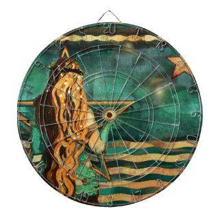Mermaid by the Sea with Moon and Stars Dartboard