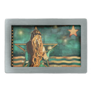 Mermaid by the Sea with Moon and Stars Rectangular Belt Buckle