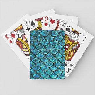 mermaid cards, fish scales, nautical, bridesmaid playing cards