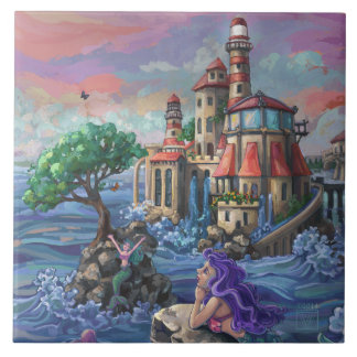 Mermaid Castle Large Square Tile