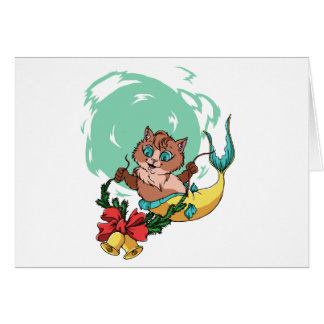 Mermaid Cat With Christmas Garland Card