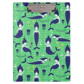 Mermaid clip board in green/navy