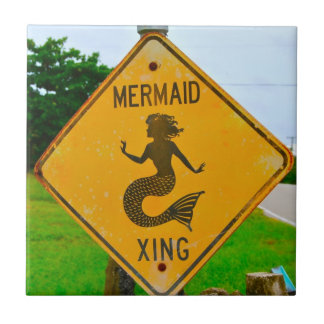 Mermaid Crossing Road Sign Tile