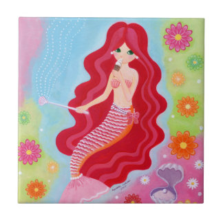 Mermaid Dream painting Small Square Tile