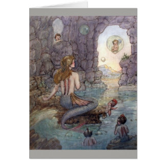 Mermaid & Fairies in a Grotto, Card
