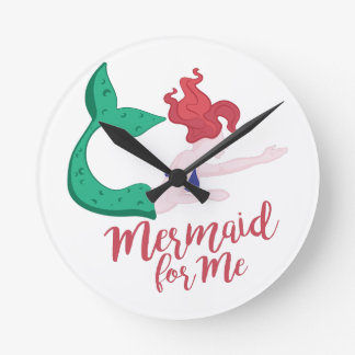 Mermaid For Me Round Clock