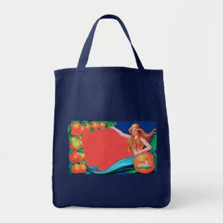 Mermaid Fruit Crate Label Art Canvas Bags