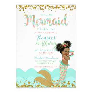 Mermaid Girl African American Girl Peach Mint Gold Card