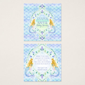 Mermaid Girl Baby Shower Diaper Raffle Watercolor Square Business Card