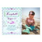 Mermaid Girl's Birthday Party Photo Invitation