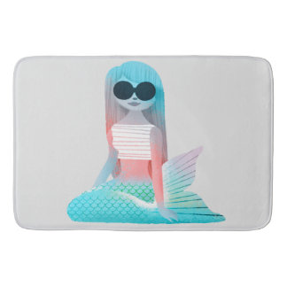 Mermaid illustration bath mat