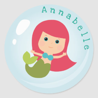 Mermaid in a  Bubble Classic Round Sticker