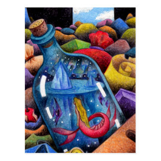 Mermaid in the bottle postcard