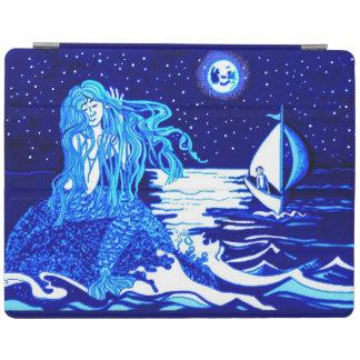Mermaid in the moonlight combing her hair iPad cover