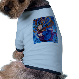 Mermaid in the Sea with Birds Art Painting Dog Tshirt