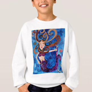 Mermaid in the Sea with Birds Art Painting Sweatshirt