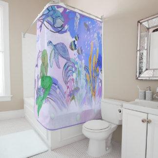 Mermaid Is Watching Sea Life Shower Curtain