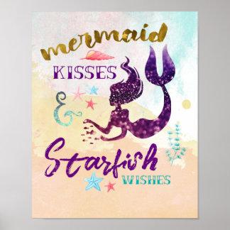 Mermaid Kisses Starfish Wishes Poster