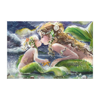 """Mermaid Kisses"" Wrapped Canvas Stretched Canvas Prints"