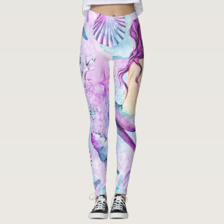 Mermaid Leggings, Womens Leggings, Summer Leggings