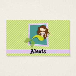 Mermaid; Lime Green & White Stripes Business Card