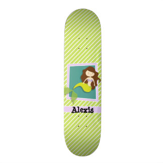 Mermaid; Lime Green & White Stripes Custom Skate Board