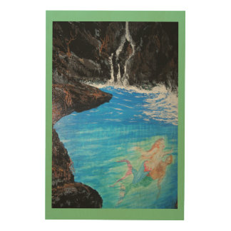 Mermaid Love grotto Wood Canvas
