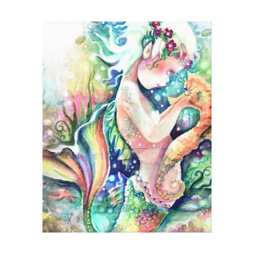 """""""Mermaid loves Seahorse"""" Wrapped Canvas Stretched Canvas Print"""