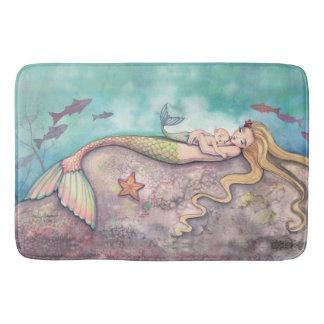 Mermaid Lullaby Mermaids Fantasy Art Illustration Bath Mat
