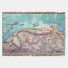 Mermaid Lullaby Mother and Baby Fantasy Art Throw Blanket