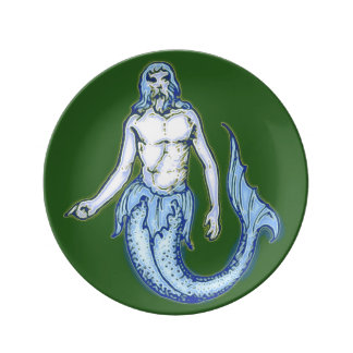 Mermaid Merman Porcelain Plate