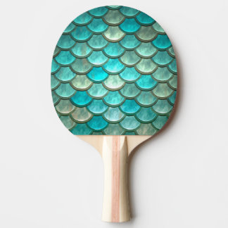 Mermaid minty green fish scales pattern ping pong paddle